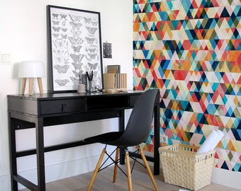 Geometric wallpaper, Triangle Wallpaper, Watercolor Wallpaper, Triangle Pattern, Geometric Wallpaper, Removable wallpaper - A153