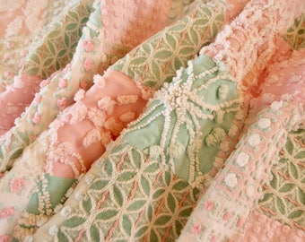 """Vintage Chenille Baby quilt made in shades of pink, green & white with Rosebuds crib size 30"""" x 50"""" - #900-49"""