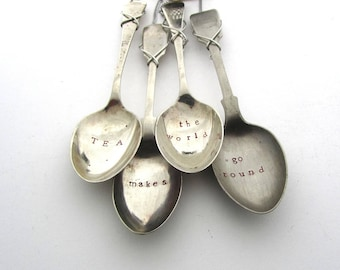 Tea Makes The World Go Round, Spoon Wind Chime, Upcycled Cutlery, Handstamped  Windchime, Small Kitchen Mobile, Hand Stamped Teaspoons