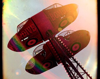 "Dive Bomber, Fairground, Ride, Nursery, Carnival, Funfair, Ttv, Vintage, Retro, 8"" x 8"" Photograph"