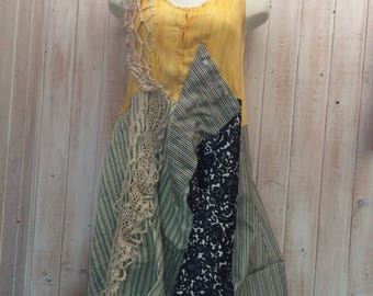 Dress up cycled clothing, boho, Bohemian, Gypsy, loose fitting sleeveless dress made with shirt and knit by Lilisoleil