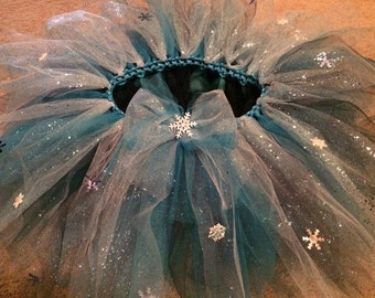 Disney Frozen tutu- elsa costume- Full and covered in glitter,  rhinestones and snowflakes-  Frozen halloween costume- Elsa dress up