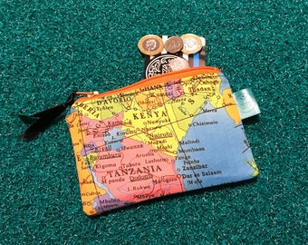 Map purse, cute coin purse, wanderlust gift, atlas zip pouch, gift for her, fun wallet, change purse, gadget case, mum, mom, Mother's Day