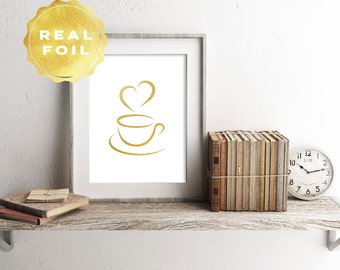 Gold Foil Coffee Art Print 4 x 6, 5 x 7, Silver Foil, Coffee Decor, Trendy Decor, Minimalist, Modern, Print Series, Room Decor