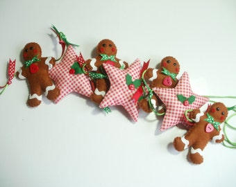Gingerbread man garland, gingerbread and gingham star garland, christmas garland