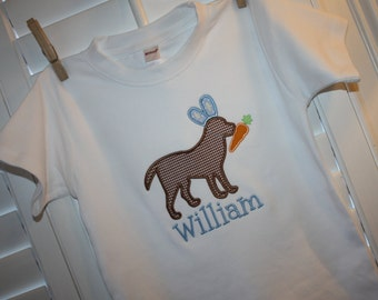 Personalized Shirt with Dog Wearing Bunny Ears Applique