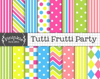 Bright Digital Paper, Tutti Frutti Digital Scrapbook Paper, Candy Stripe Digital Background Paper, Blue Polka Dots,Hot Pink,Instant Download