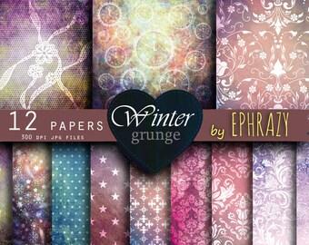 Shabby digital paper. Shabby paper. Shabby chic. Shabby papers. Winter digital paper. Winter paper. Winter background.