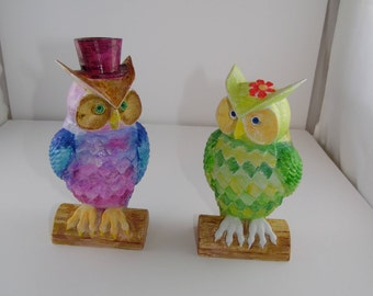 Colored Mr. and Mrs. Owl Book Ends