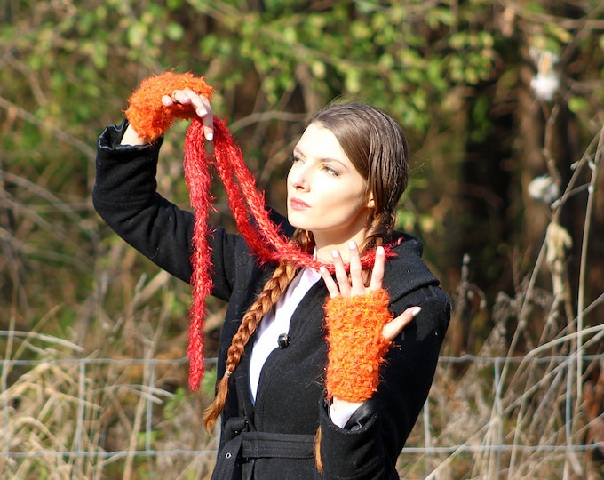 Scarf/Gloves Fuzzy Sparkly Red Skinny  and Orange Fingerless Texting  Set Long Soft Accessory  Gift for Girls, Teens or Women