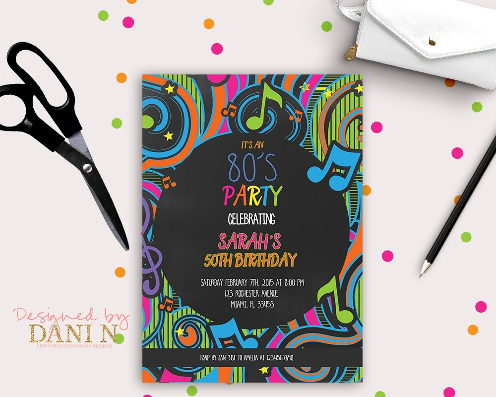 80\'s Birthday Invitation Disco party Neon Birthday
