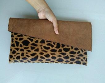 Leopard envelope clutch, leopard print leather clutch, leopard calf hair leather clutch, leather clutch, cow hide leather clutch, leather