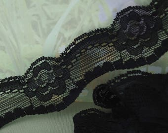 3yds Stretch Lace Elastic Trim 1 inch Black Trim wedding Headband Supplies BOHO Lace Sewing Trim Elastic by the yard cute