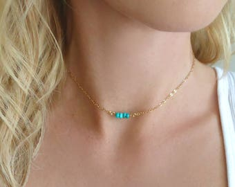 Turquoise Choker, Sleeping Beauty Turquoise Necklace, Genuine Turquoise, Beaded Choker, Real Turquoise Jewelry, Tiny Choker Necklace