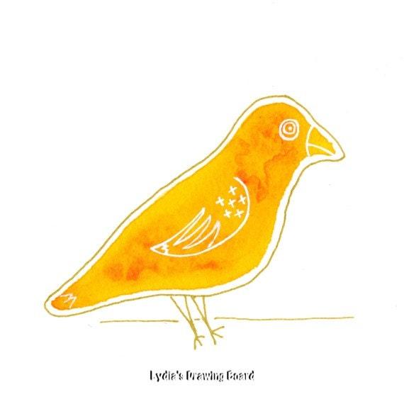 Yellow Bird, Canary, Bird, Bird Art, Nature Art Print, Bird Art Print, Bird Artwork, Bird Wall Art, Bird Decor, Bird Prints, Whimsical Art