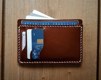 Leather cardholder, BROWN, Card wallet, Slim leather wallet, slim card holder, gift for him