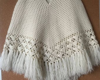 Girl's crochet poncho from 70's