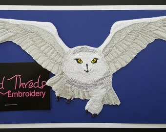 Snowy Owl Flying Embroidered Patch