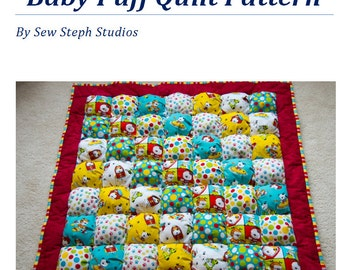 """Create your own Puff Quilt the easy way!  Baby or Kids Quilt Pattern for a  ~38"""" X 38"""" Puff Quilt aka Biscuit Quilt EASY to Make!"""