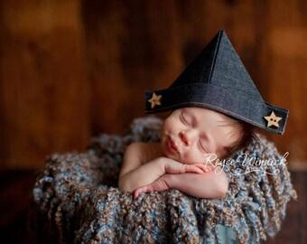 "Newborn Newspaper Hat, Little Blue Jean Fabric ""Newspaper"" Hat, Newborn Photography Prop, Sailor Hat, Baby Newspaper Hat, Blue Jean Fabric"