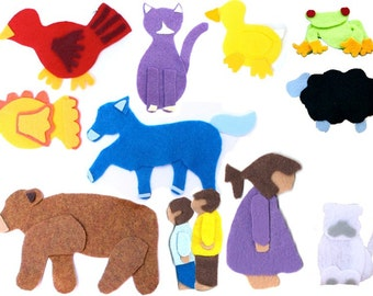 Brown Bear Brown Bear What Do You See Felt Story - Flannel Board Story - Quiet Toy - Montessori Toys - Waldorf Storytime Playset