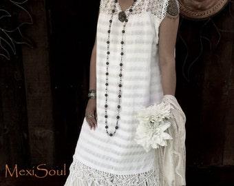 Mexican Wedding Dress, 2pc. Mexican Wedding Dress, Unique wedding Dress, OOAK, Bohemian, Ethnic,