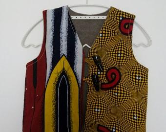 Wax sleeveless vest, lined taupe micro fleece - 3 years