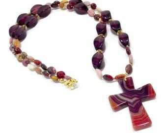 Chunky Cross Necklace, Long Gemstone Cross Necklace, Long Boho Chic Necklace, Long Bohemian Necklace, Long Gypsy Necklace, Purple & Orange