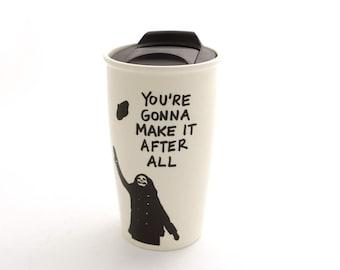 Mary Tyler Moore Travel Mug  - eco friendly -   working girl - you're gonna make it after all - large travel mug - ceramic travel mug