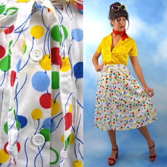 Vintage 70s Rainbow Balloons Novelty Print High Waisted Button Front A Line Skirt (size medium)