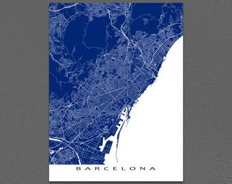 Barcelona Map Art Print, Barcelona Spain, European City Street Maps