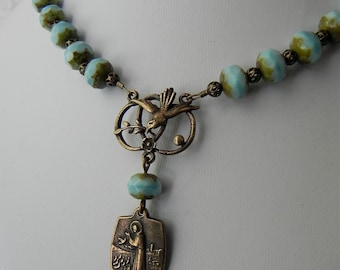 Prayer of St. Francis - Rosary Style Necklace in Antique Bronze and Blue