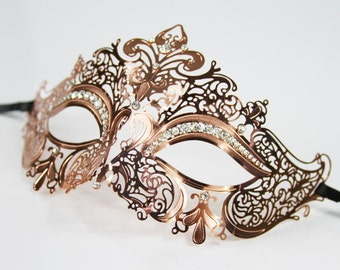 Rose Gold Masquerade Mask/ Laser Cut with rhinestones.