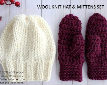 HAT & MITTENS SET, this set includes both the hat and the mittens, wool knit hat, wool mittens, soft and cozy, mitten and hat set