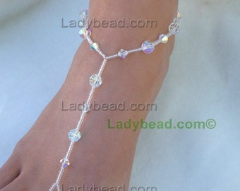 TL108 Ladybead Crystal Barefoot Wedding Bling On Sale! Barefoot Blue Crystals Beach Bride Jewelry for your Feet Dance Barefoot. Closeout