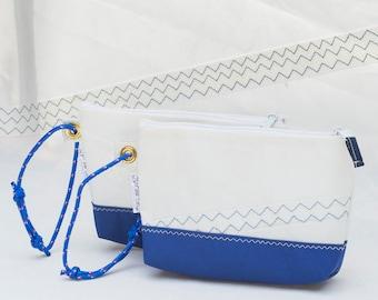 Recycled Sail, Wristlet clutch, Royal Blue, Marine Canvas, Eco Friendly, Evening Bag, Sail Cloth Bag