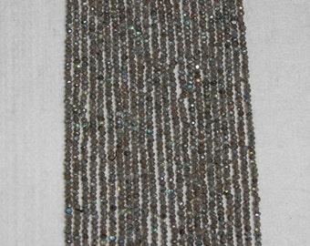 Quartz, Gray Quartz, Mystic Gray Quartz, Faceted Rondelle, Semi Precious, Sparkle Bead, Spacer Bead, Full Strand, 3 mm, AdrianasBeads