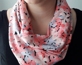 Floral Infinity Scarf, ELOISE Pattern (PINK)