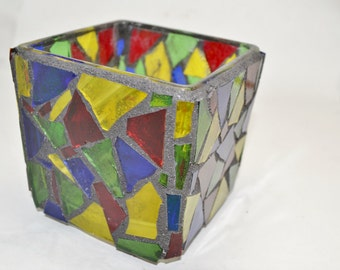Rainbow colored Mosaic Candle Holder