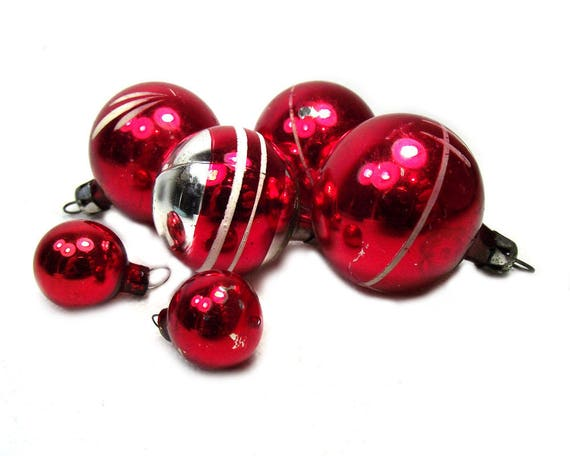 Vintage Red Christmas Baubles from the Mid Century