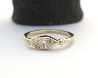 Marquise engagement ring, Marquise Diamond ring, Engagement ring, 14k Yellow gold diamond ring, Diamond Engagement ring, Natural diamiond