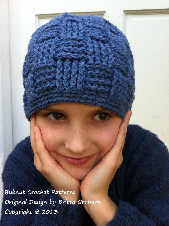 Boys Basketweave Beanie Crochet Pattern No124 Digital
