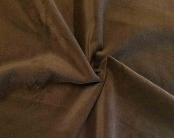 "Luxurious Brown 100% Cotton Velvet Velour Fabric for Upholstery Heavy Weight Curtain Drapery Quality Material Sold by the Yard 54"" Wide"