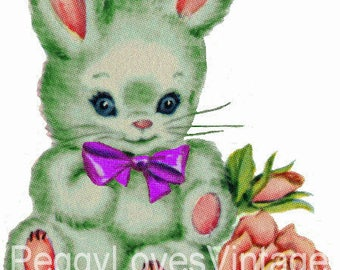 Green Bunny with Purple Bow Digital Image from Vintage Greeting Cards - Instant Download