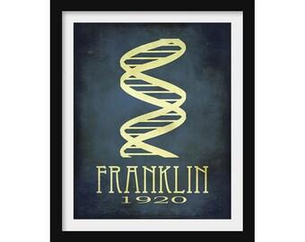 DNA Science Poster, Rosalind Franklin, Women in Science Gift, Chemistry Poster, Science Decor, Scientist Wall Art, Physics Gift Teacher Gift