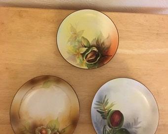 """Three Beautiful 6-1/4"""" Hand Painted Noritake Morimura Plates 1940s"""