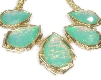 Sale| Aqua Opal Collar Necklace - Mint Bib Necklace - Resin Faux Opal - Bridal - Prom - Abalone - Statement - Wedding - Bridesmaid - Jewelry