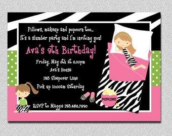 Pajama Birthday Invitations,  Sleepover Birthday Invitations, Girls Pajama Party, Sleepover Party, Girls Sleepover Birthday Party Invitation