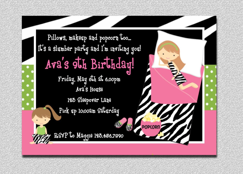 Pajama Birthday Invitations Sleepover Birthday Invitations