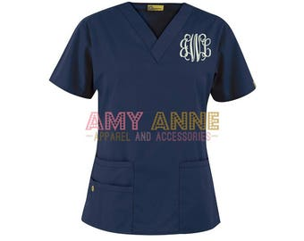 Monogrammed Nurse Scrub Top Nursing Medical Apparel Doctor Scrubs Personalized Embroidered